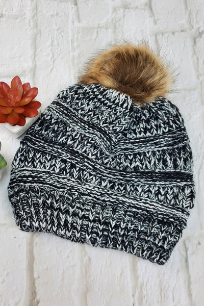 #16 Black & Grey Ponytail Pom-Pom Beanie