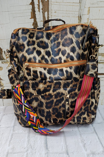 Backpack Purse Brown Black Leopard