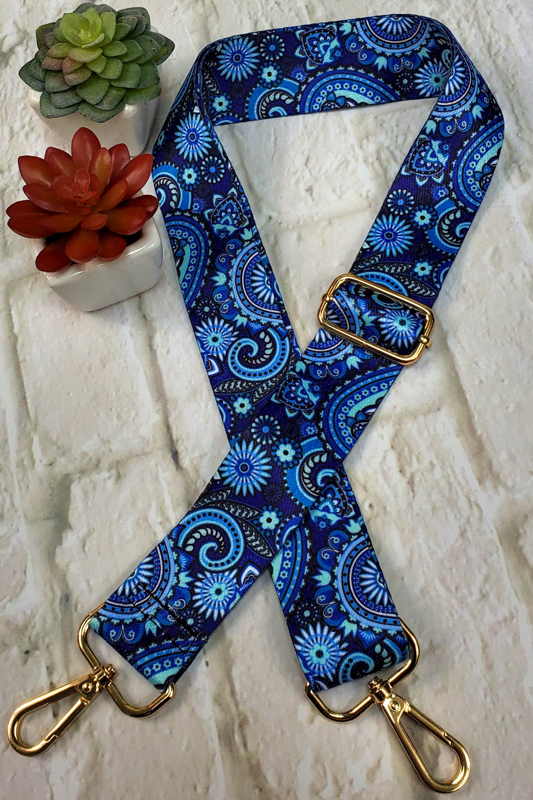 #19 Blue Paisley Guitar Purse Strap