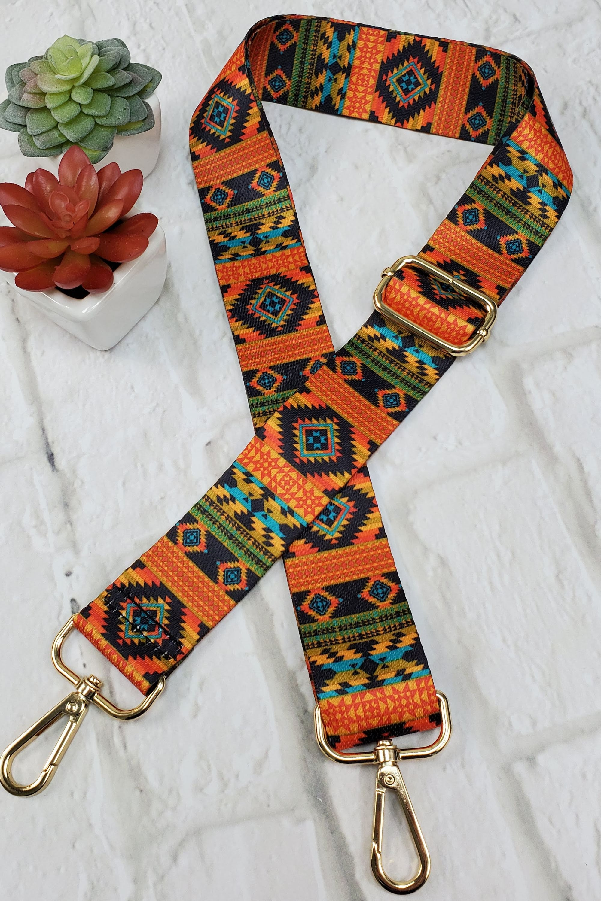 #12 Orange Aztec Guitar Purse Strap