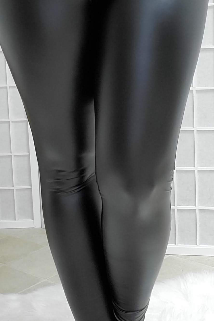 Faux Shiny Leather Solid Black Leggings