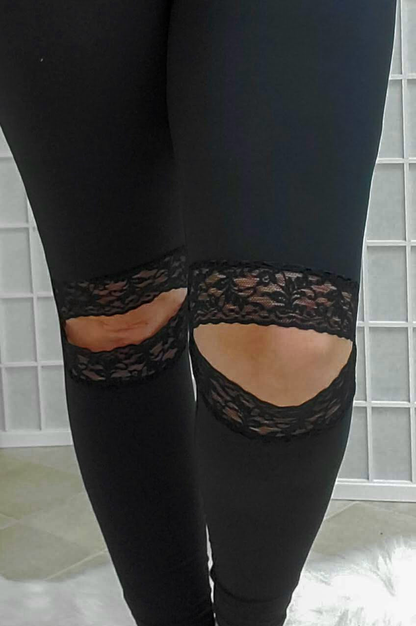 Lace Knee Solid Black Leggings