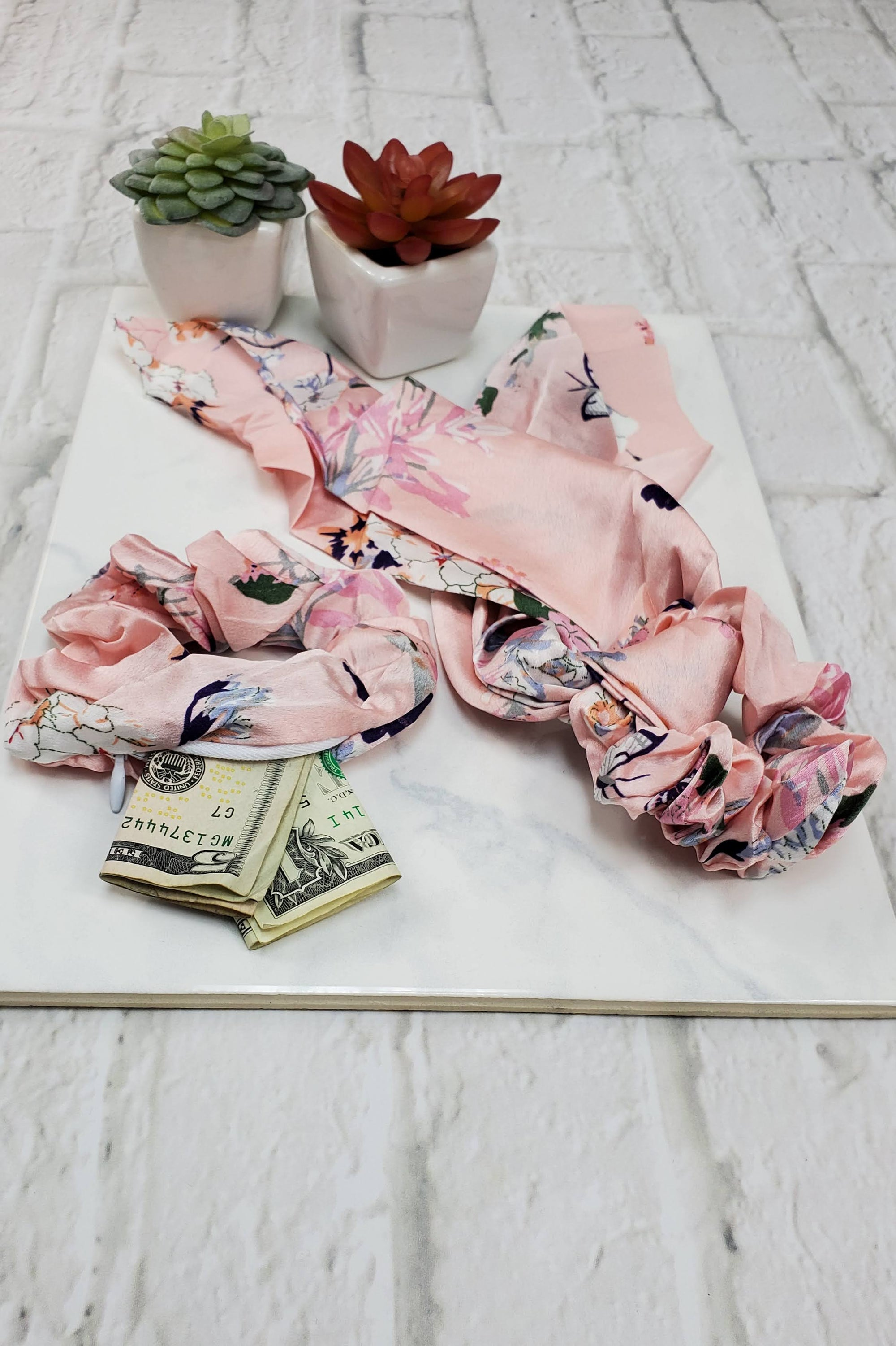 #10 Pink Floral Scrunchie Set