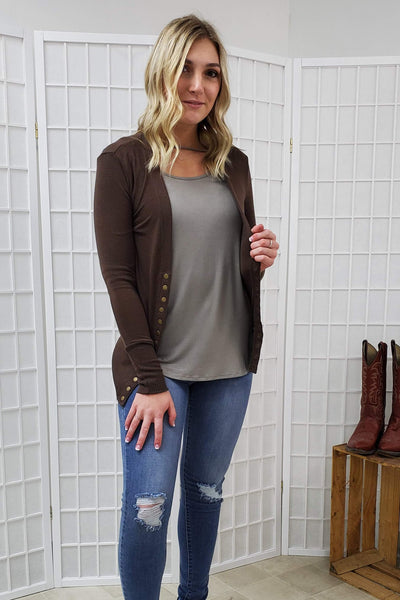 Karly Brown Button Cardigan