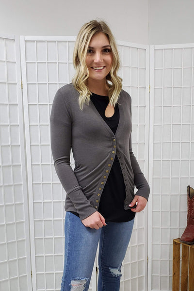 Karly Mid Grey Button Cardigan