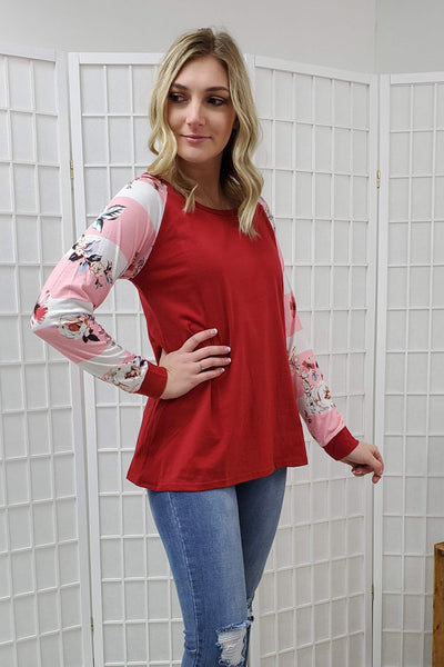 Julia Red Floral Striped Sleeve Top