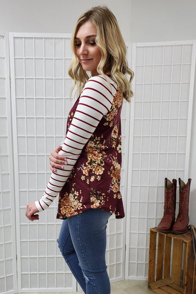 Laura Burgundy Floral Top
