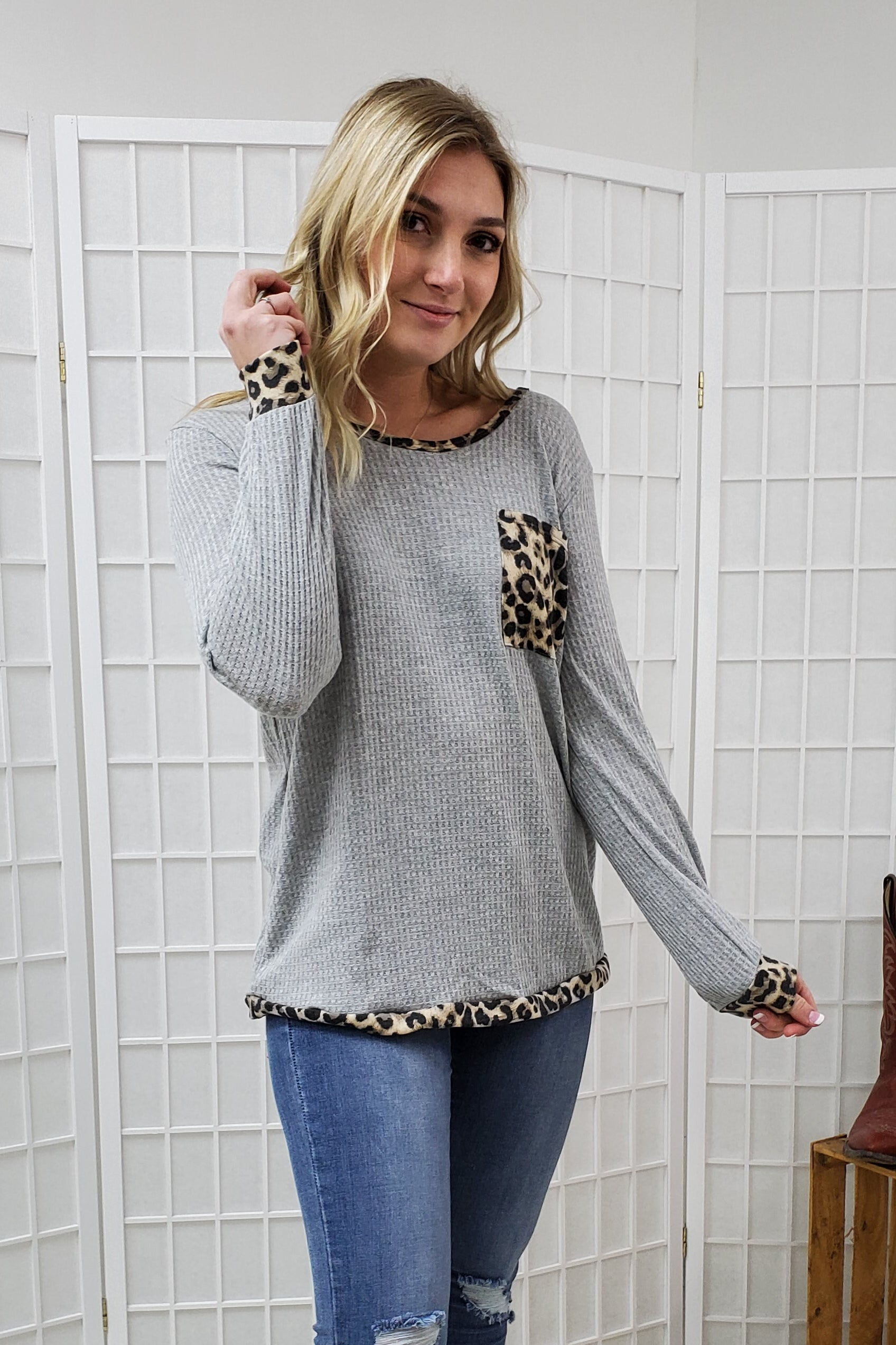 Harlow Leopard Gray Waffle Top