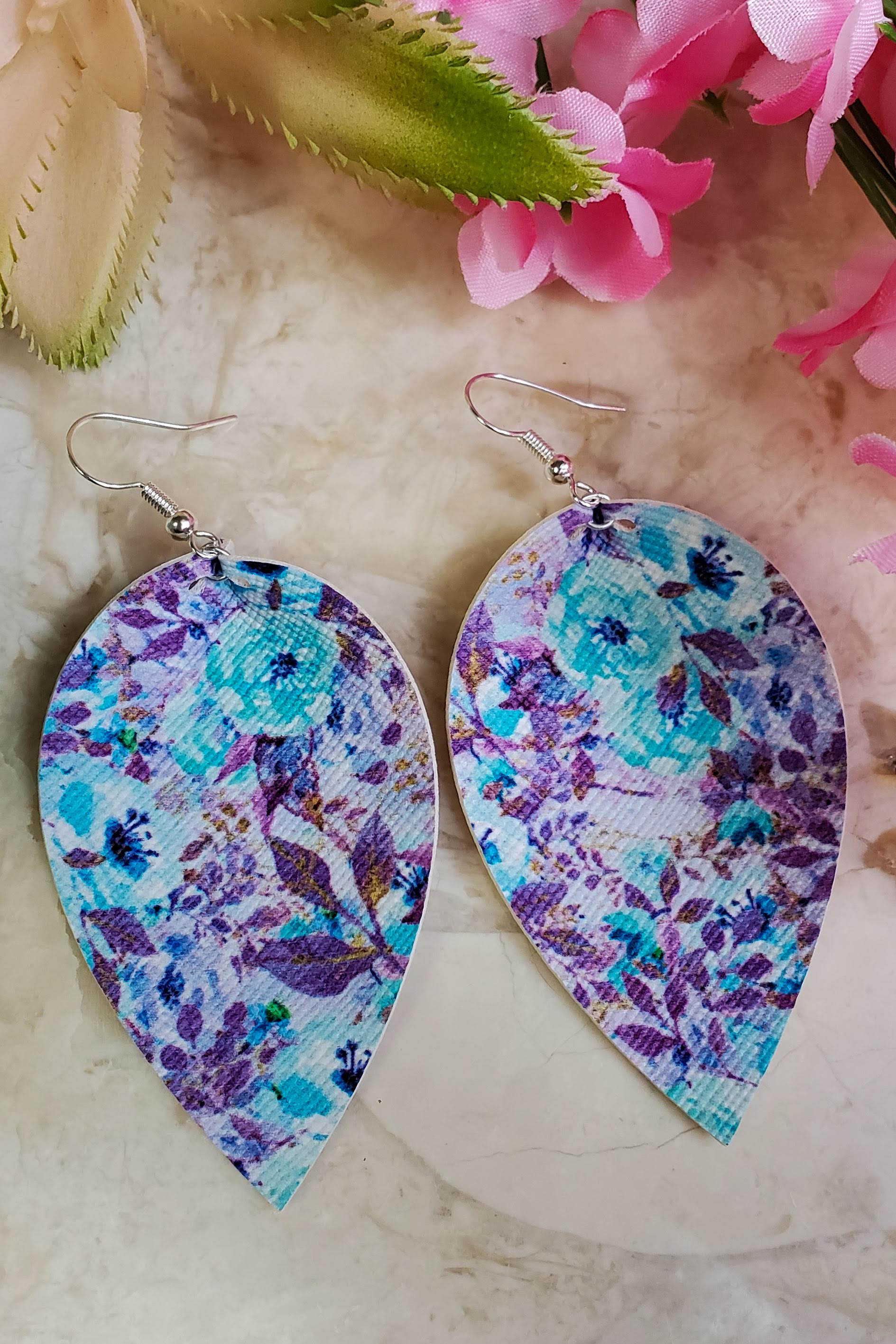 Purple Floral Petal Handcrafted22 Earrings P-020