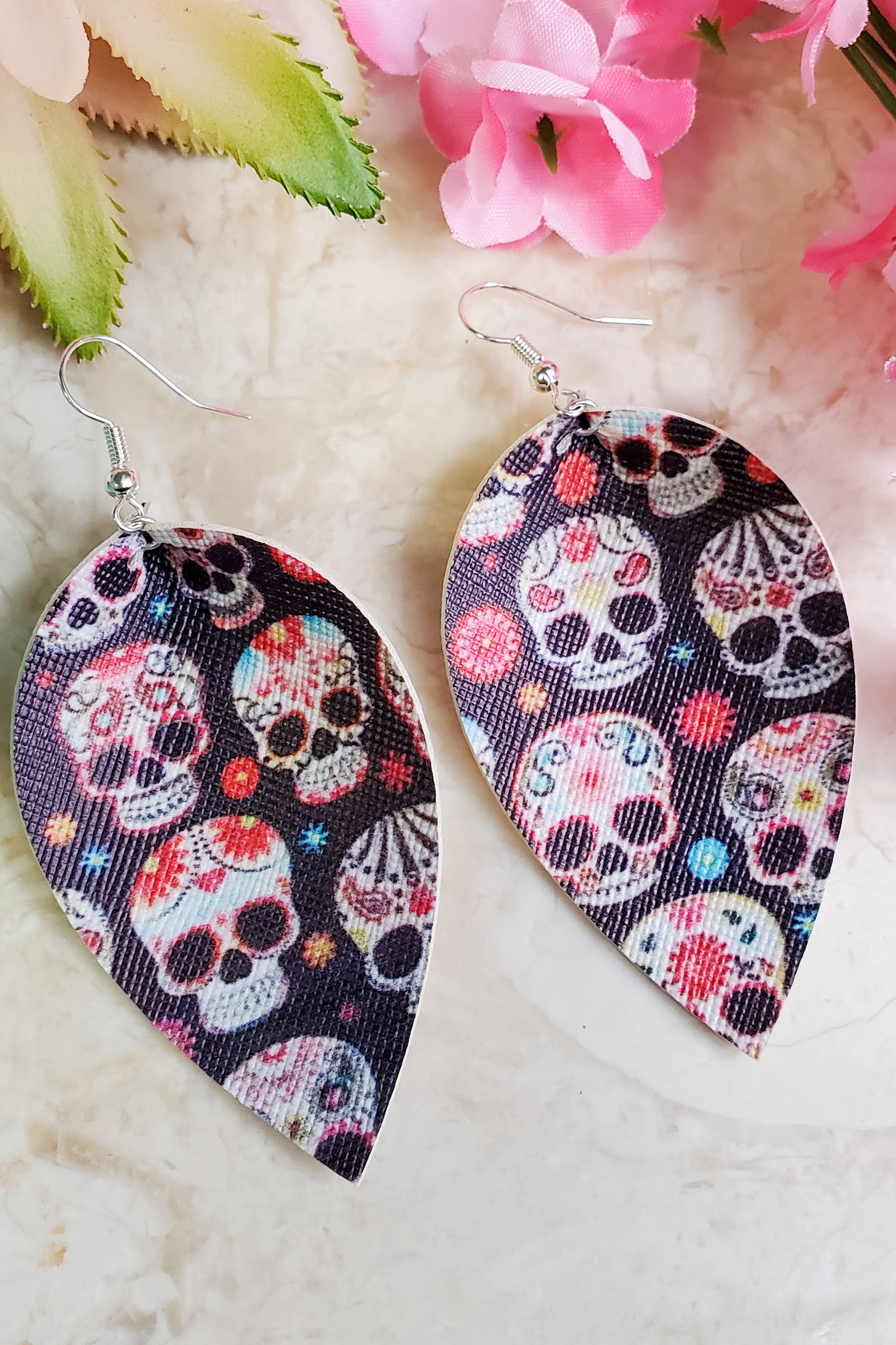 Sugar Skull Petal Handcrafted22 Earrings P-024