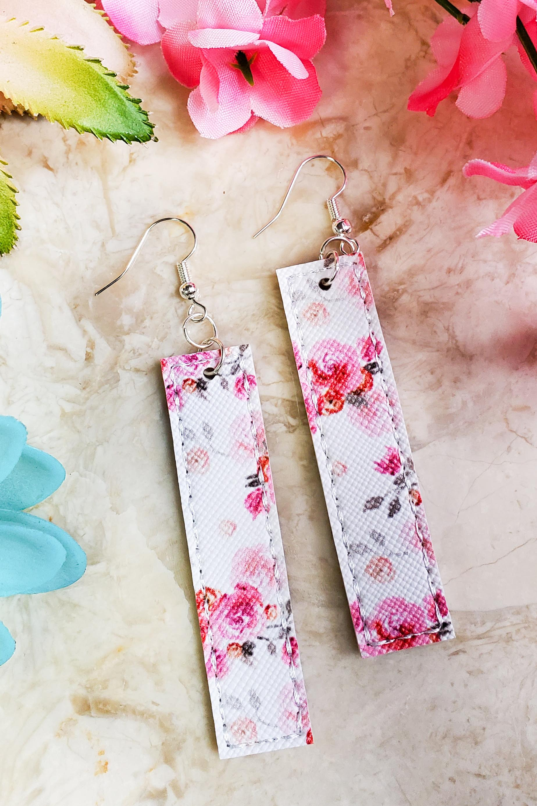 Pink Floral Bar Handcrafted22 Earrings B-226