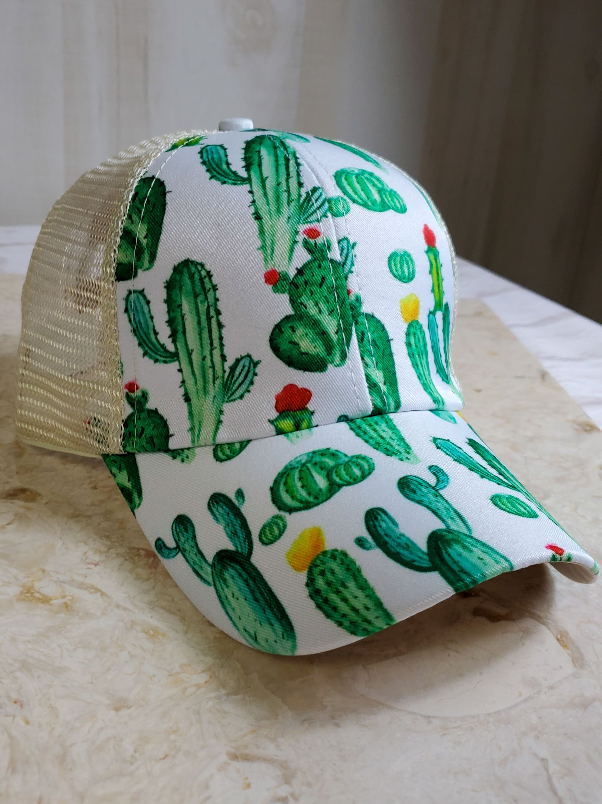 Criss-Cross Cactus High Ponytail Hat
