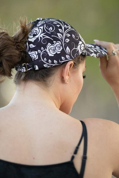 Skull Rose Messy Bun Ponytail Hat