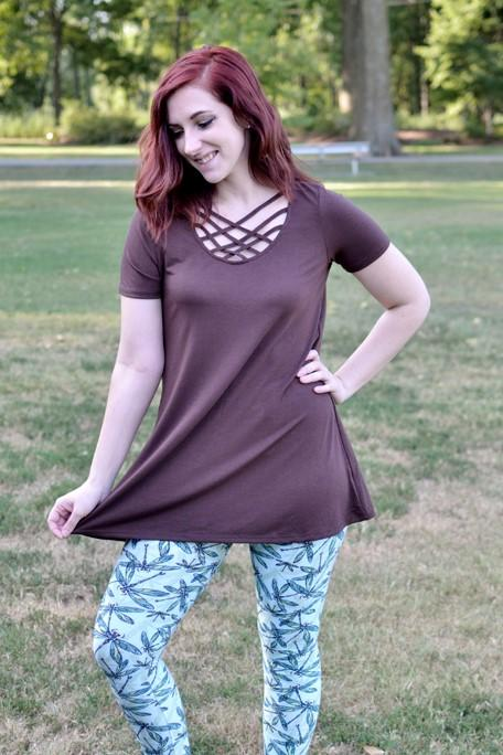 Lilliana Criss-Cross Brown Top (Item #16) *CLEARANCE*