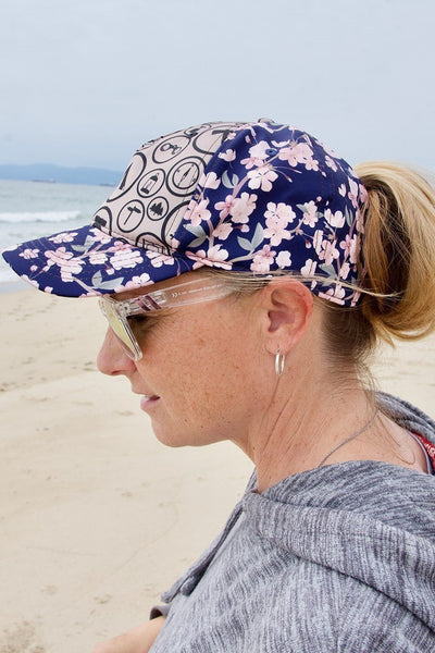 Camp Flowers Messy Bun Ponytail Hat