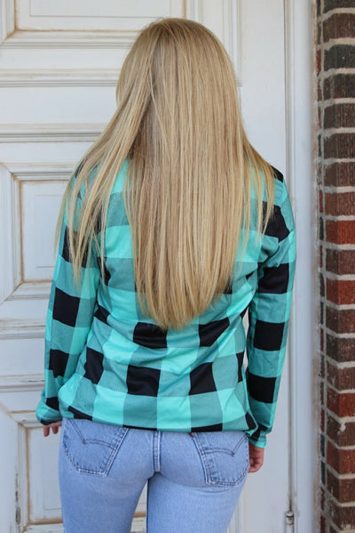 Kendra Turquoise Plaid Top