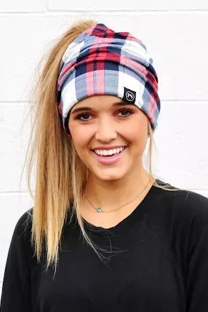 Plaid Red & Blue Peek-A-Boo Beanie