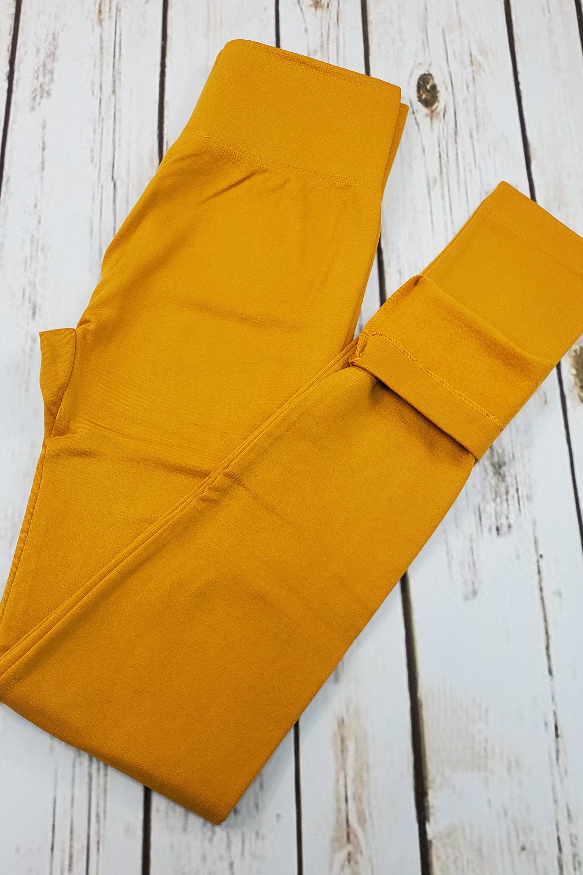 Fleece-Lined Nylon Mustard Leggings