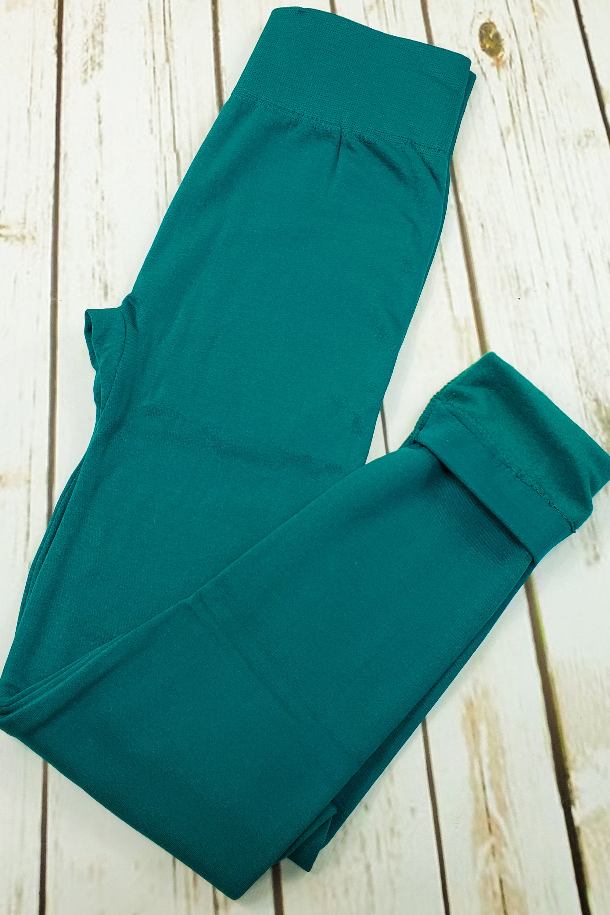 Fleece-Lined Nylon Forest Jade Leggings