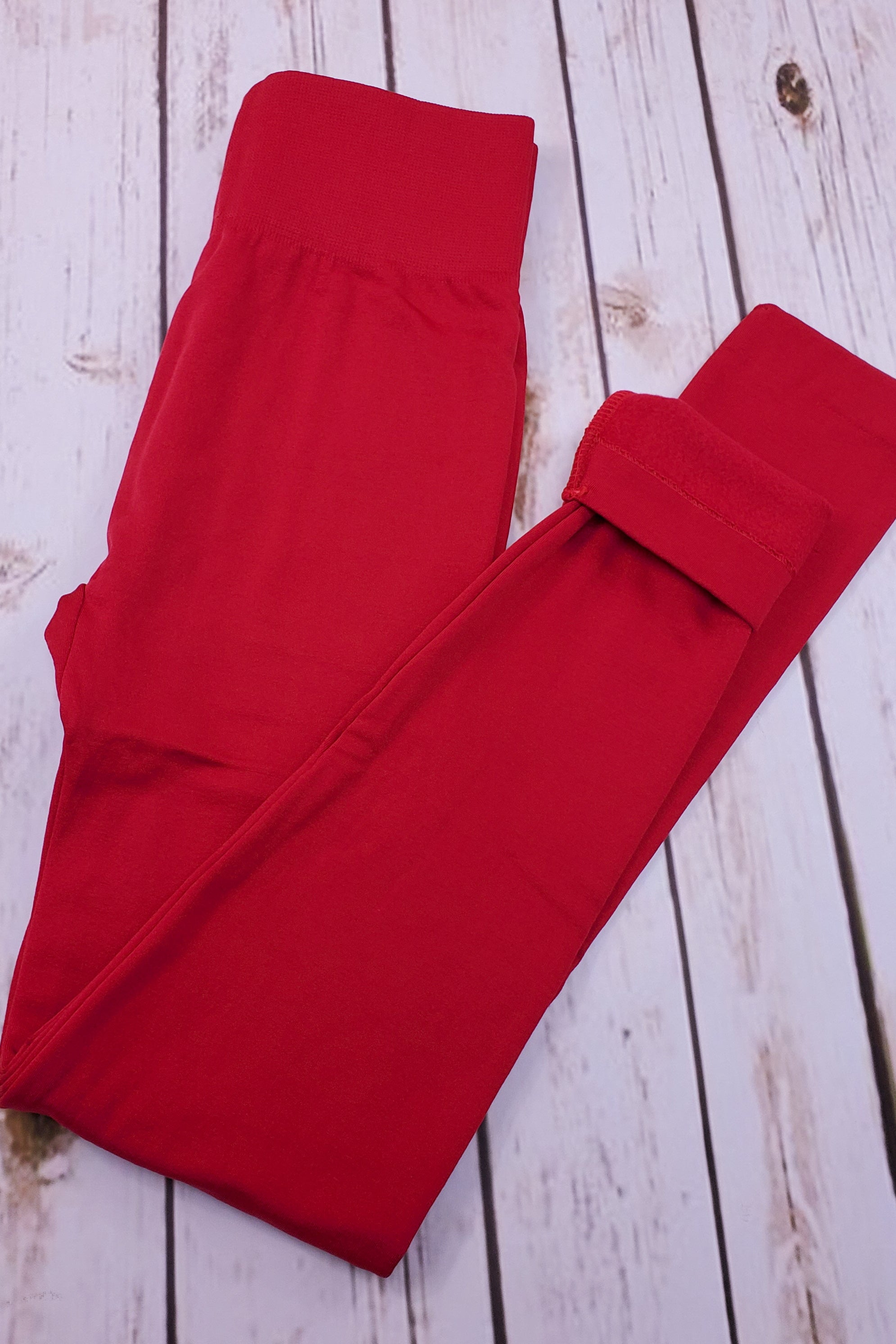 Fleece-Lined Nylon Red Leggings