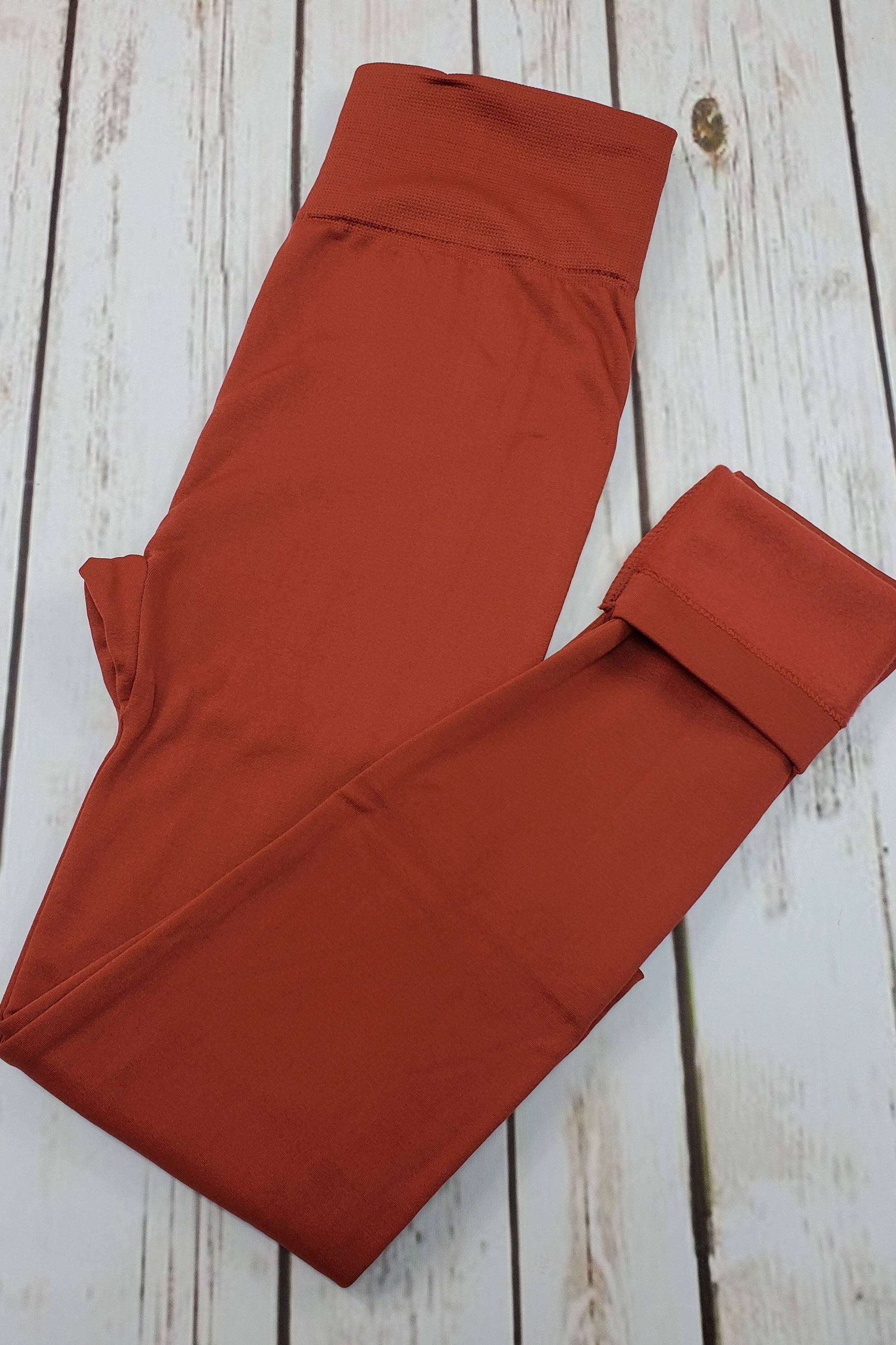 Fleece-Lined Nylon Rust Leggings