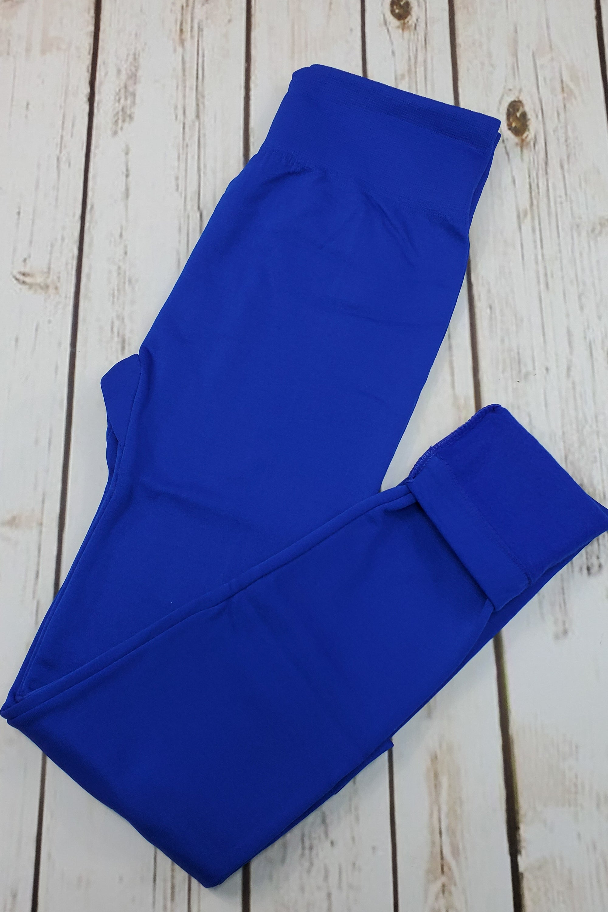 Fleece-Lined Nylon Royal Blue Leggings
