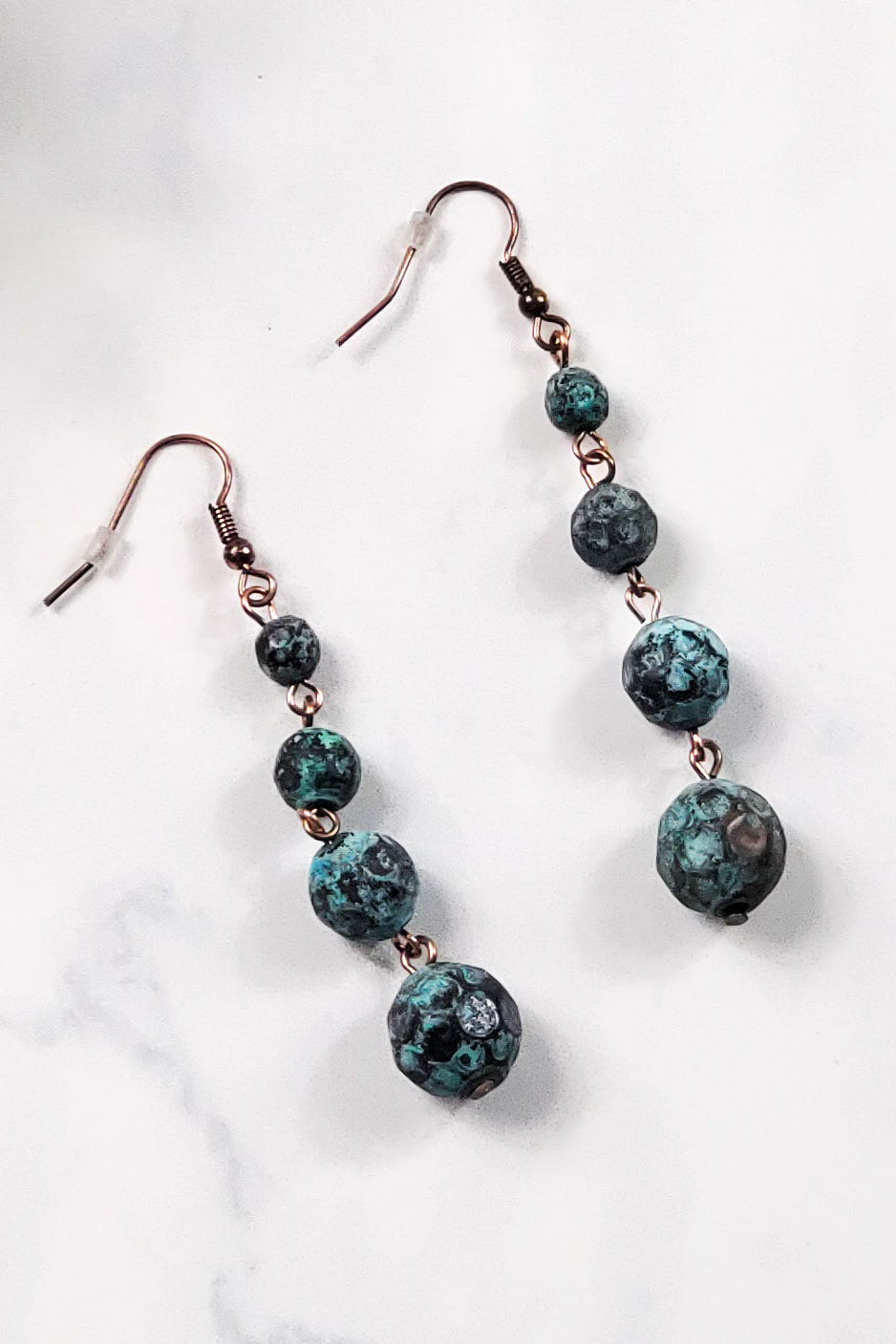 Patina Hammered Beaded Earrings RP-1766