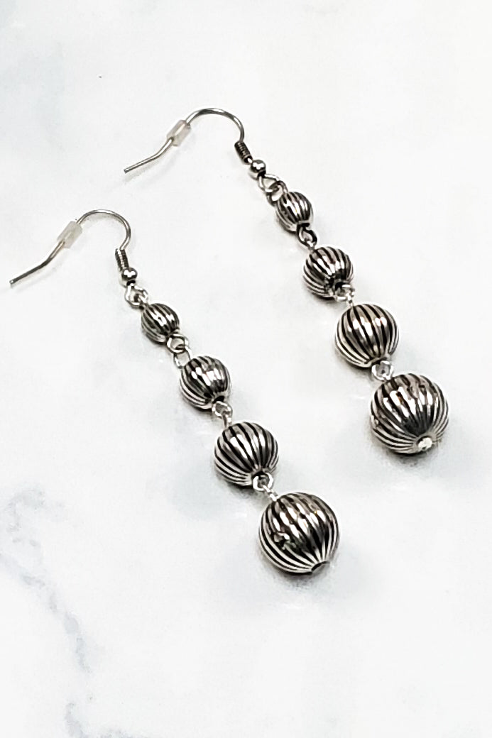 Silver Striped Beads Earrings RP-1767