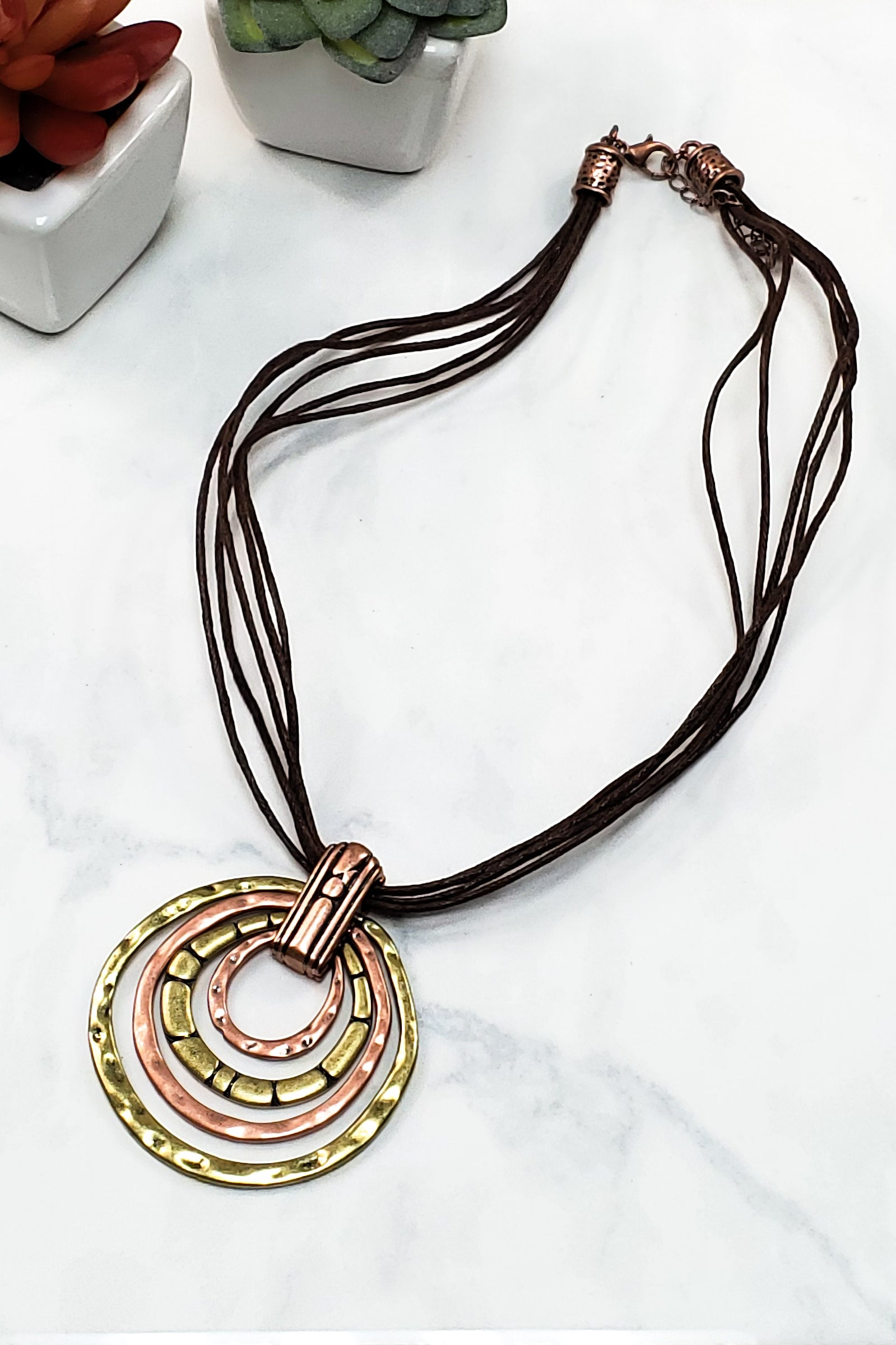 Bronze And Gold Multi Circle Necklace TW-0825