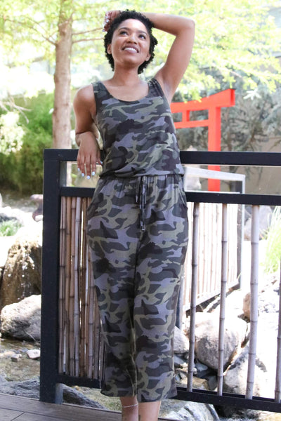 Lainey Jane Sleeveless Camo Jumpsuit