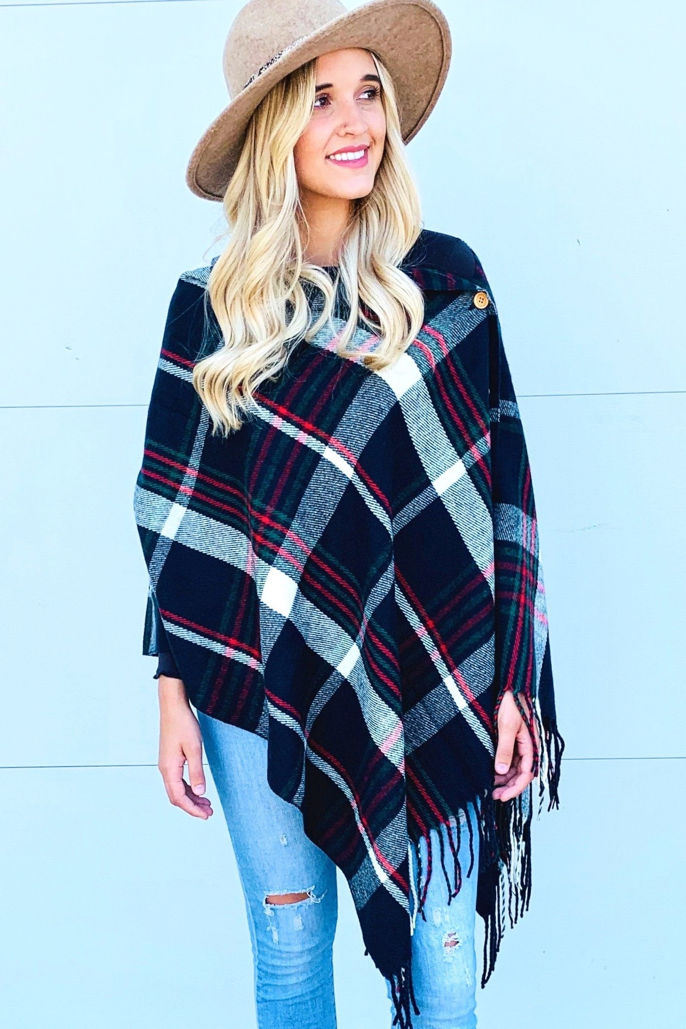 Plaid Navy Button Shawl