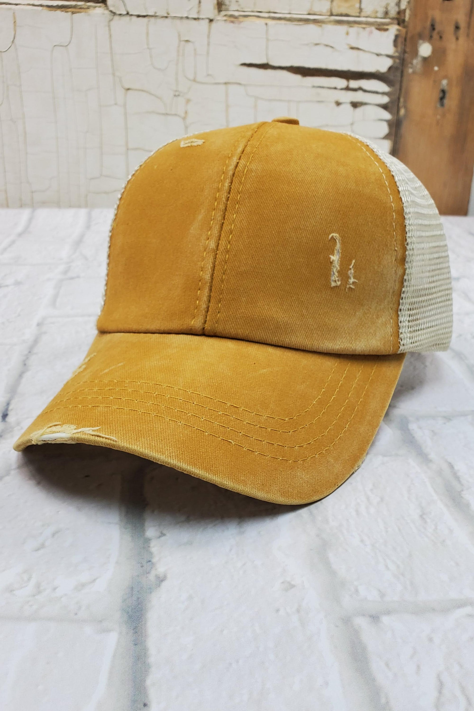 Criss-Cross Mustard High Ponytail Hat