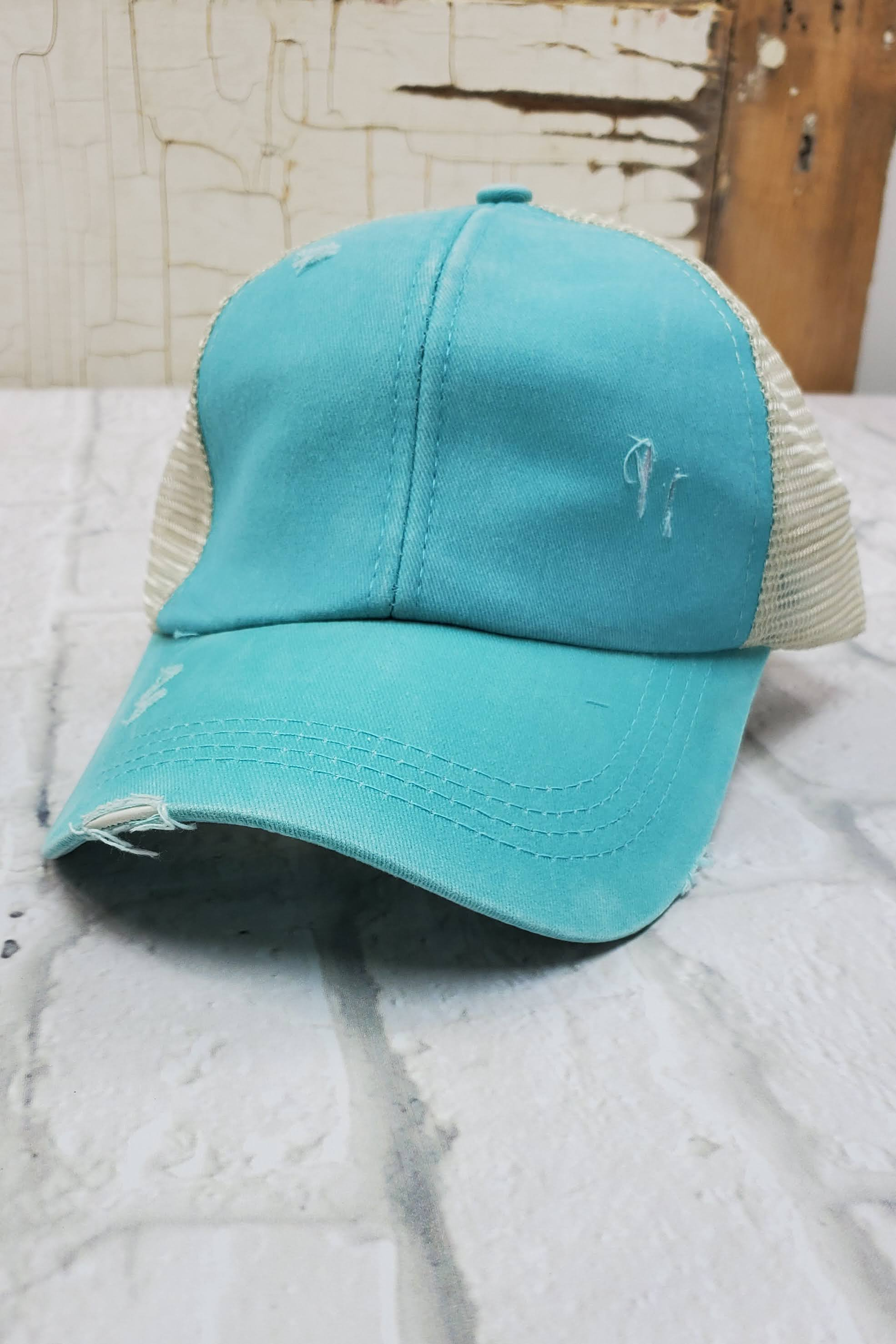 Criss-Cross Aqua High Ponytail Hat