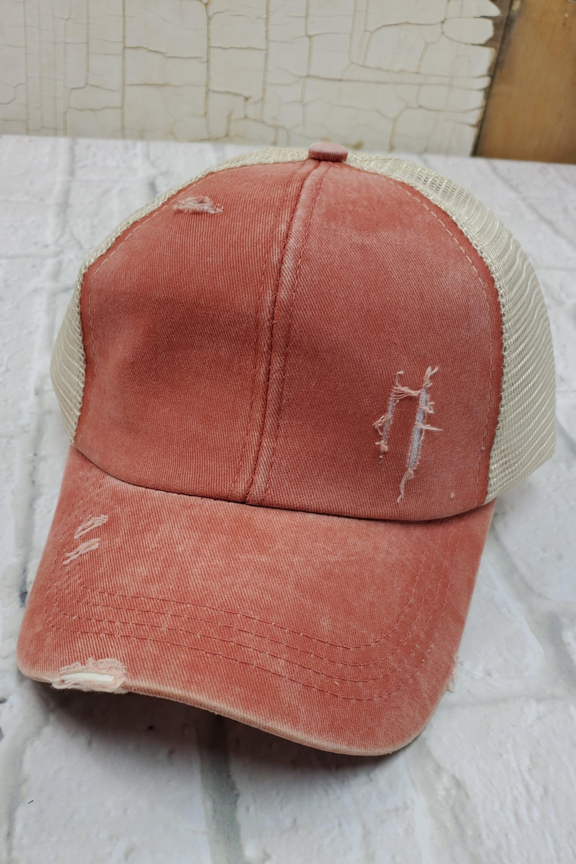 Criss-Cross Coral High Ponytail Hat