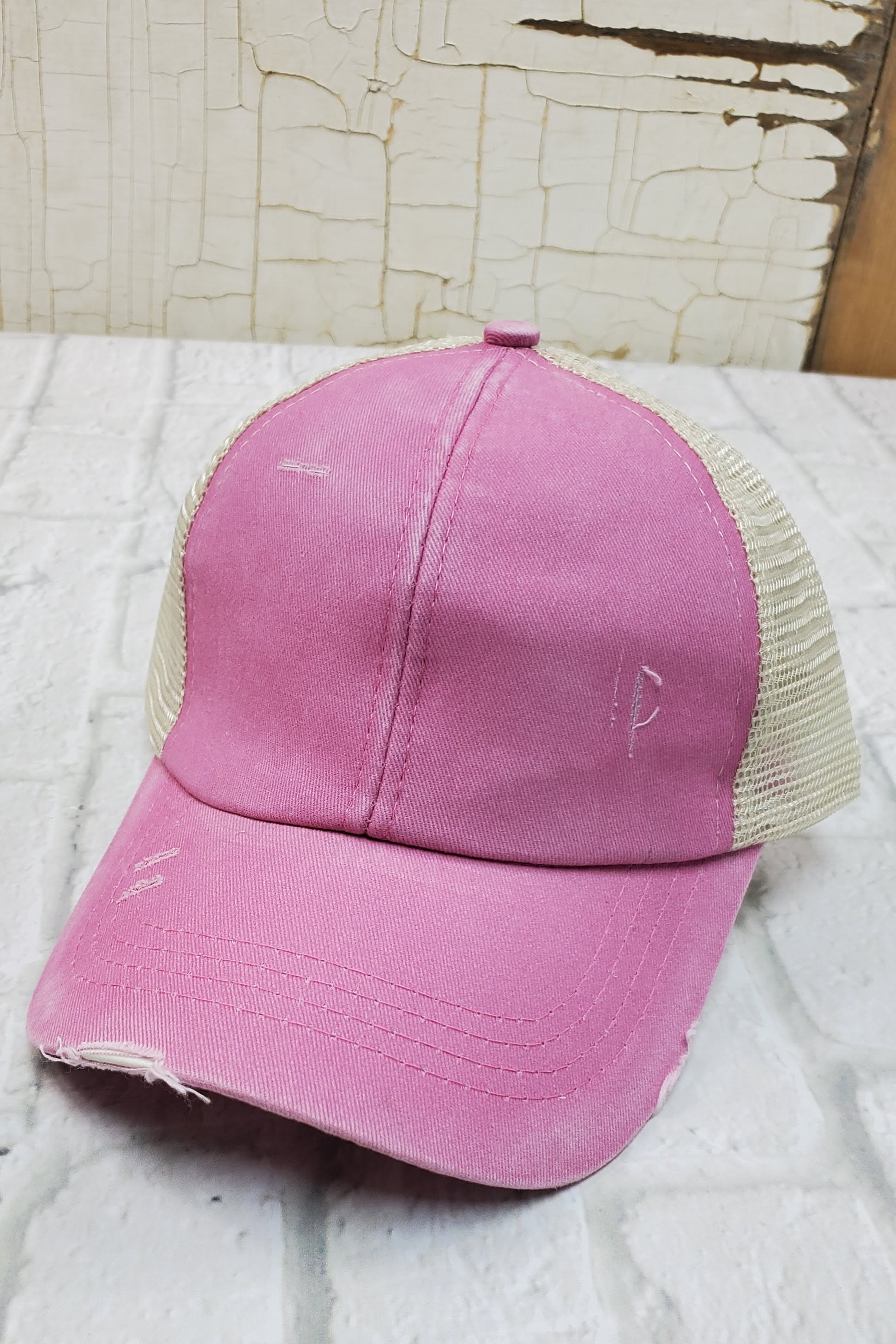 Criss-Cross Pink High Ponytail Hat