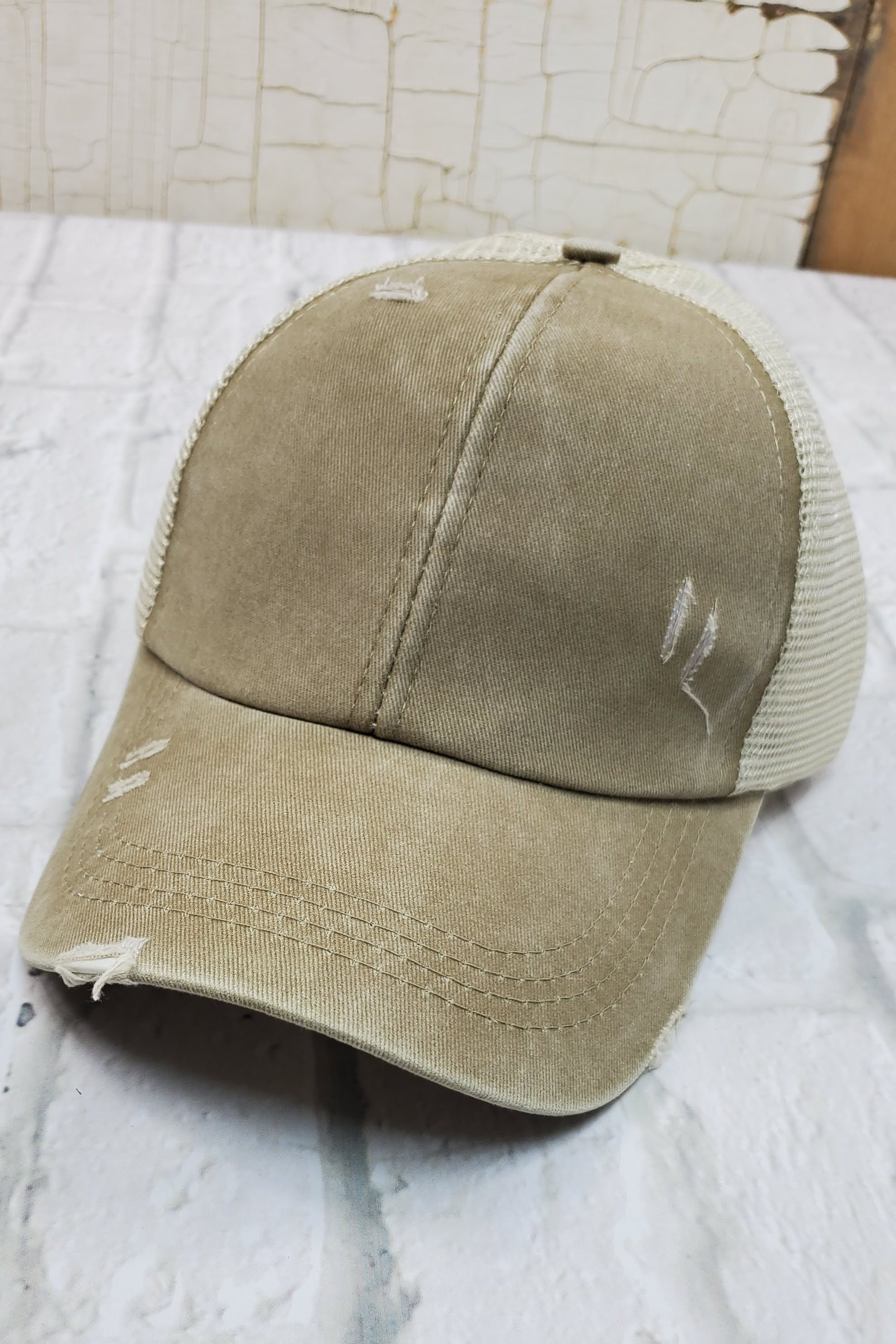 Criss-Cross Tan High Ponytail Hat