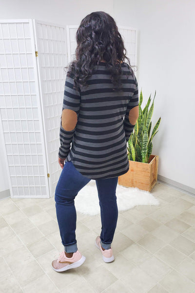Taegyn Striped Elbow Patch Top
