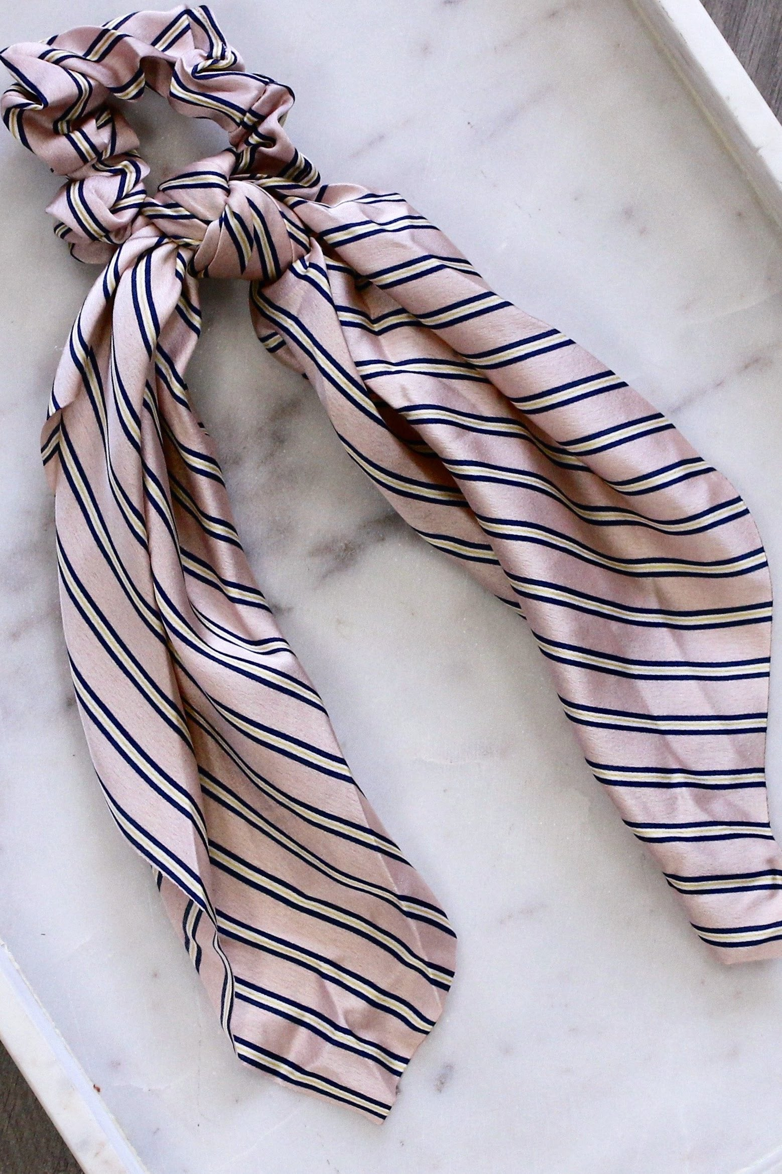 Blush Striped Scarf Scrunchie