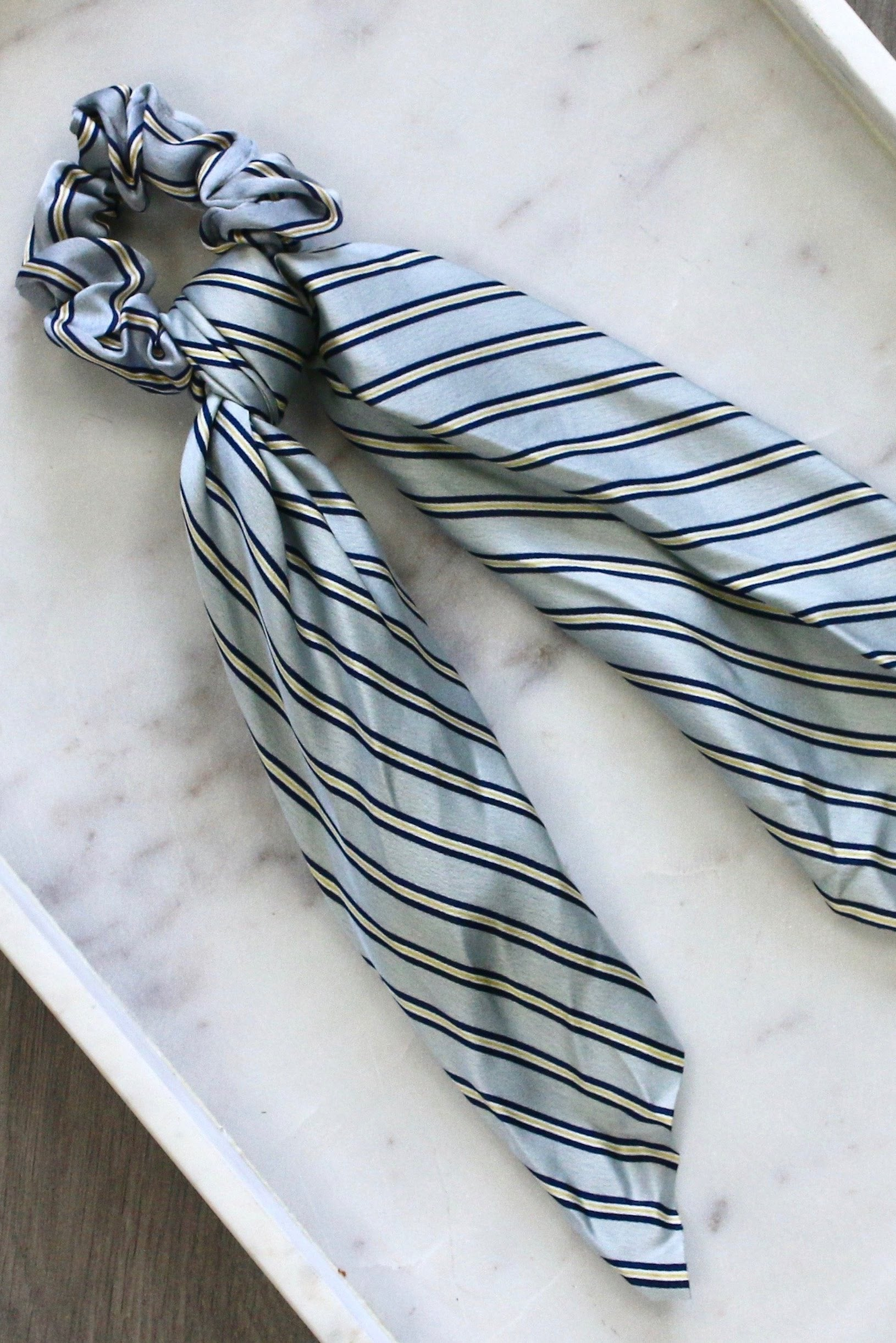 Grey Striped Scarf Scrunchie