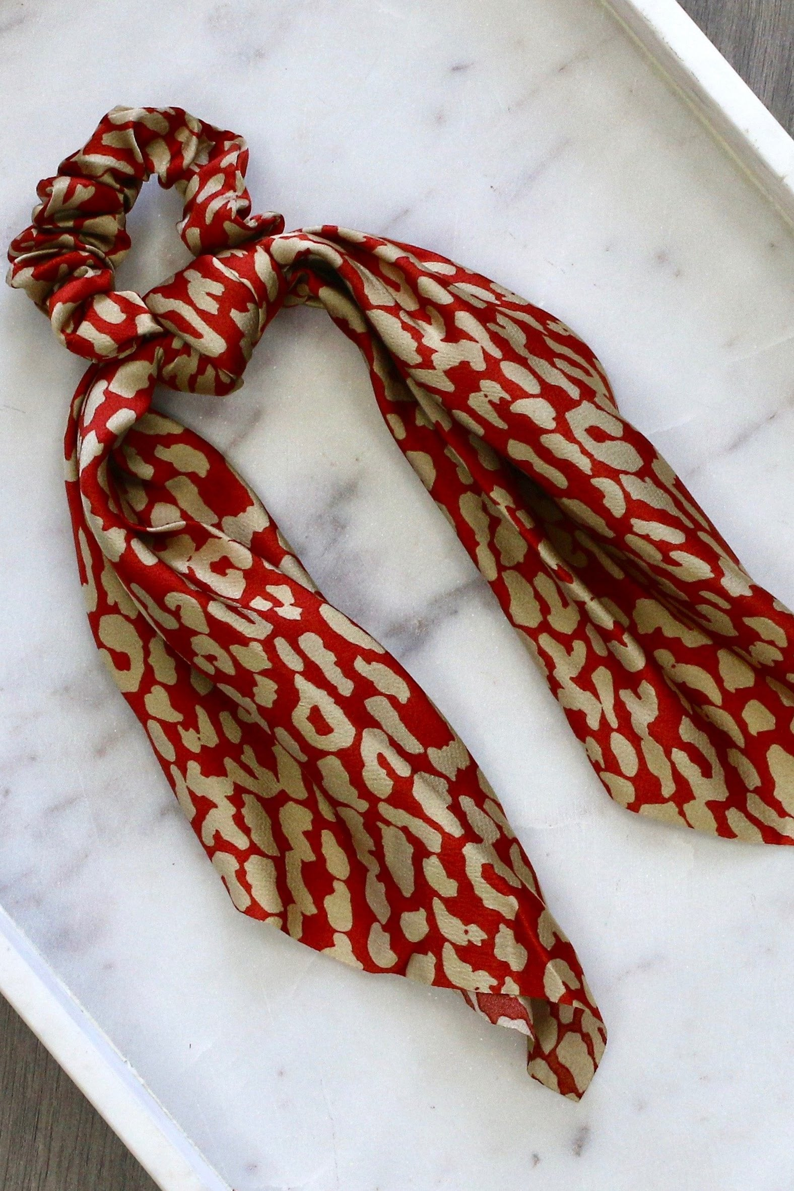 Red And Tan Leopard Scarf Scrunchie