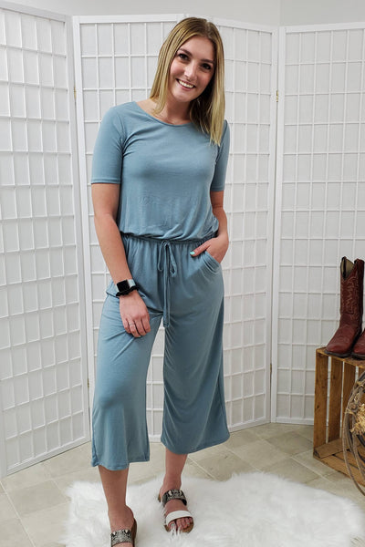 Koren Blue Grey Capri Jumpsuit