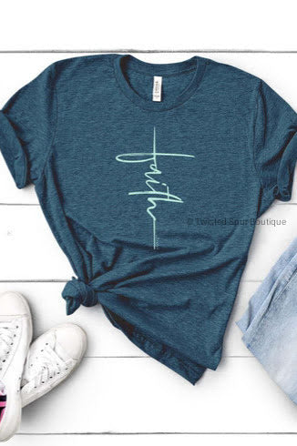 Vertical Teal Faith Tee (Bella Canvas)