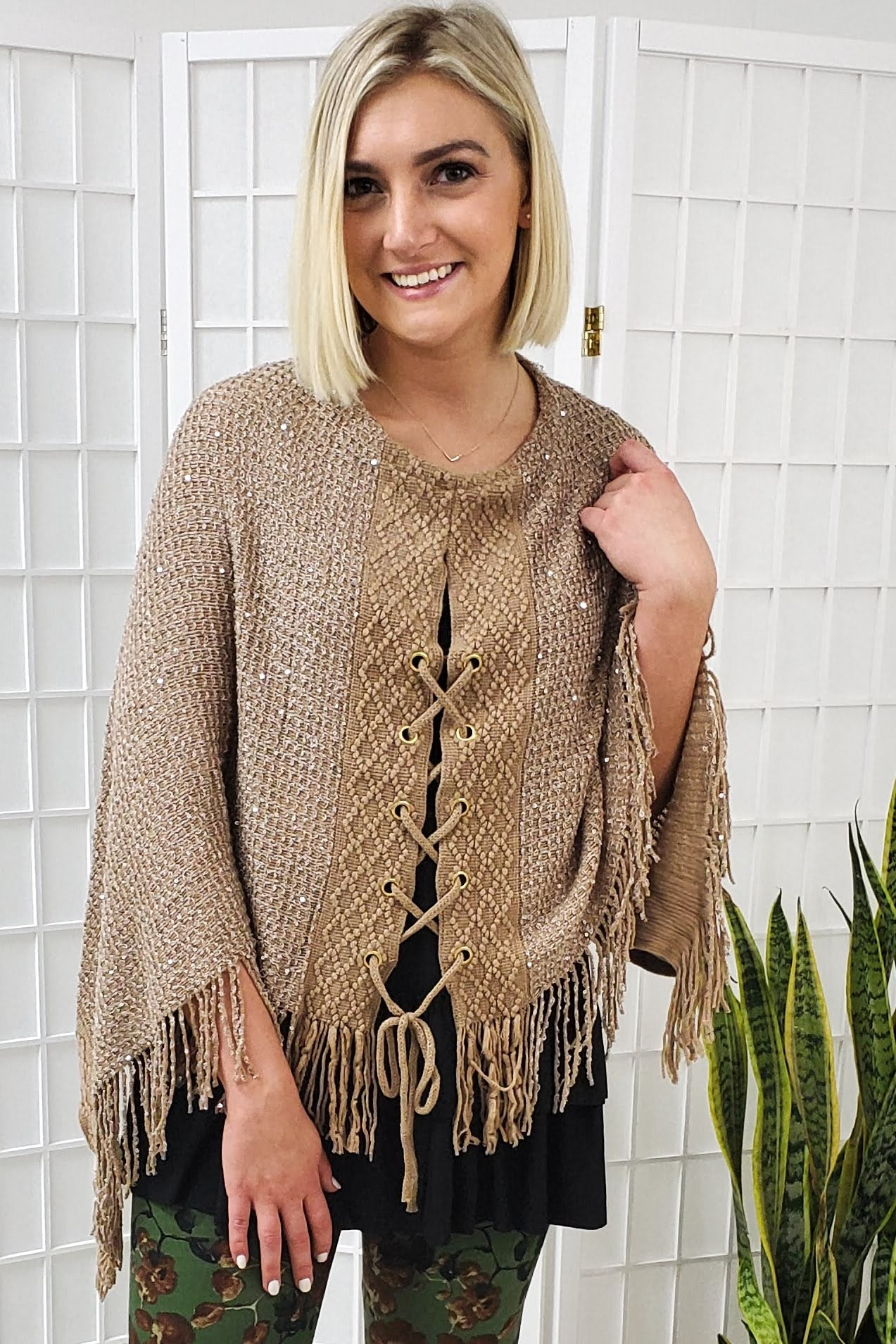 Sequined Taupe Shawl