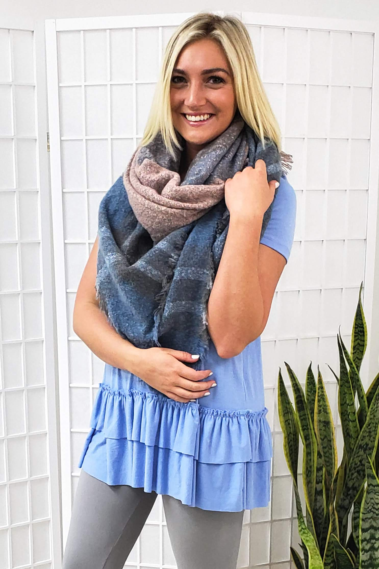 Blanket Scarf Blue Plaid