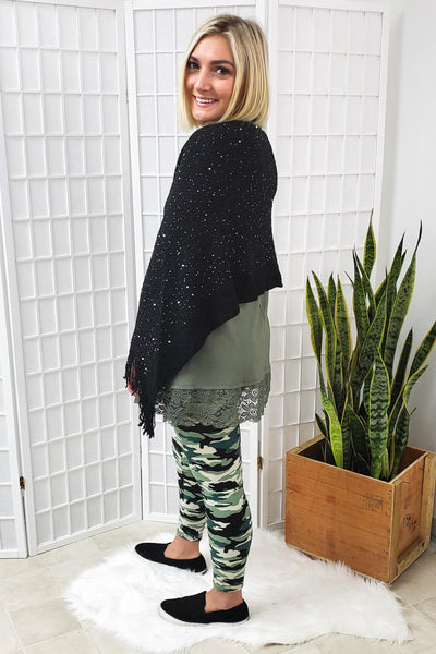 Sequined Black Shawl