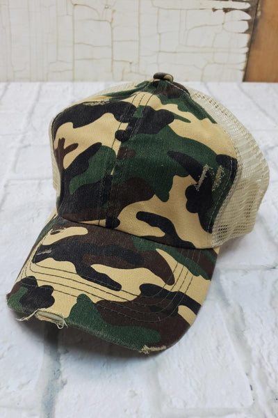 Criss-Cross Khaki Camo High Ponytail Hat