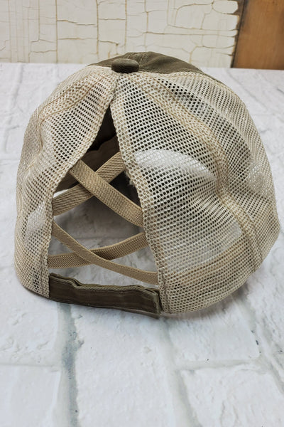 Criss-Cross Olive High Ponytail Hat