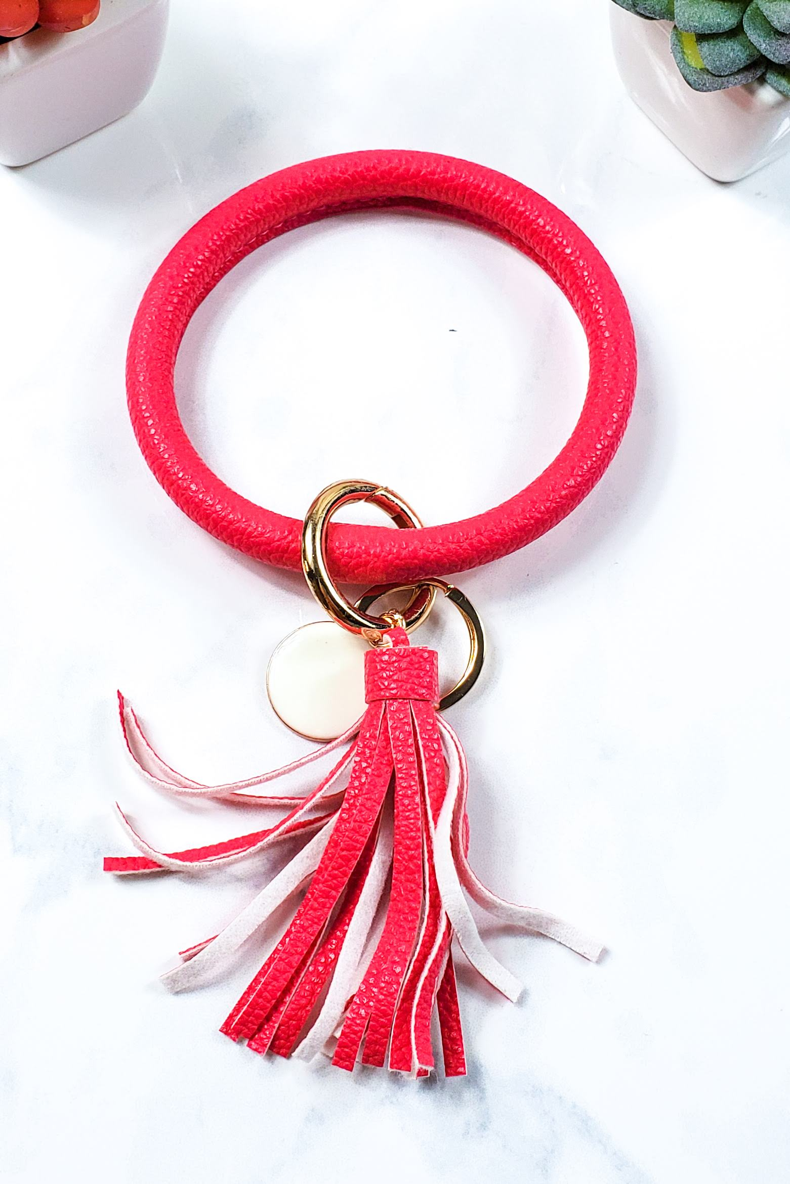 Solid Hot Pink Keychain Bangle