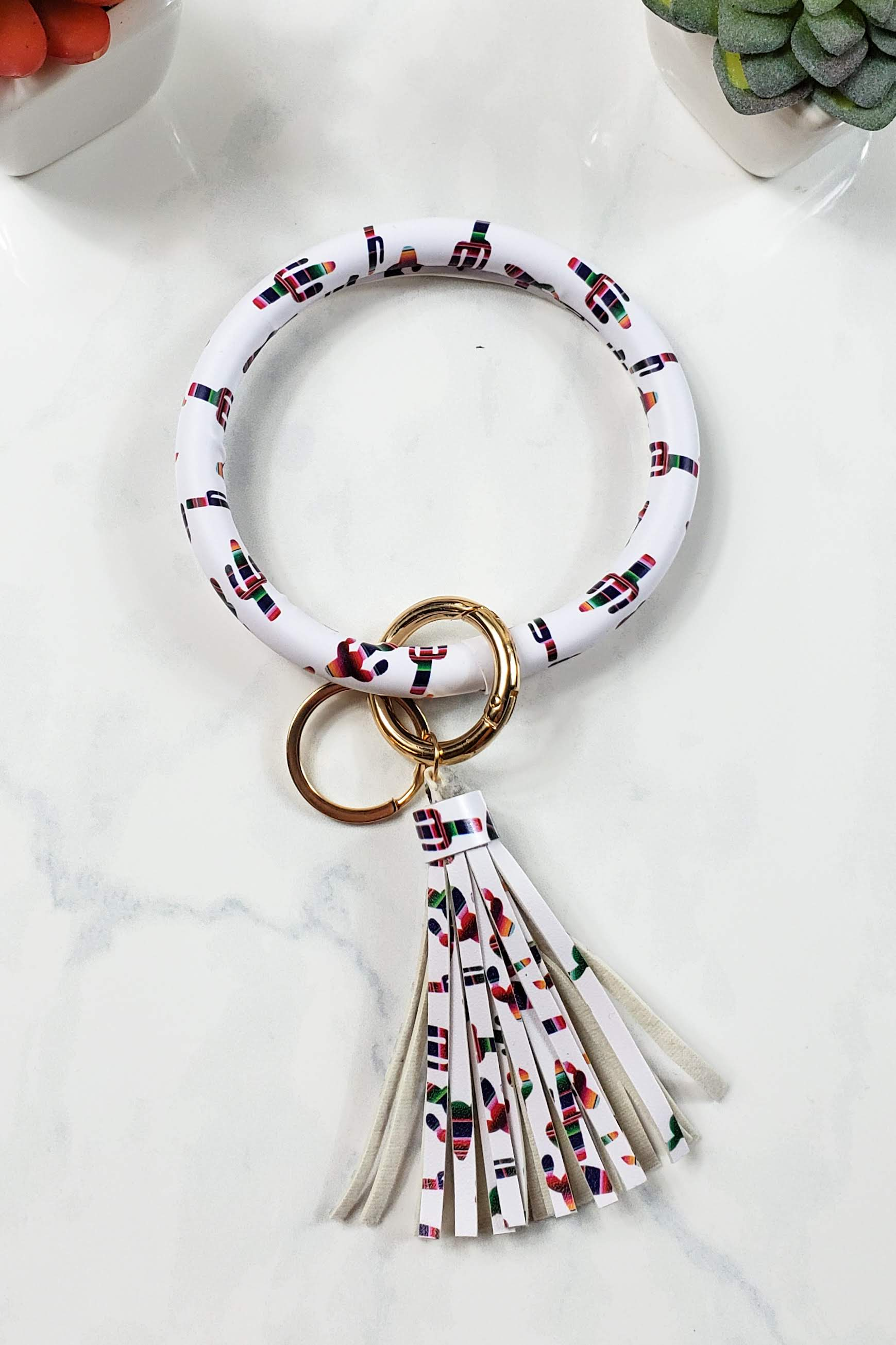 Serape Cactus Keychain Bangle
