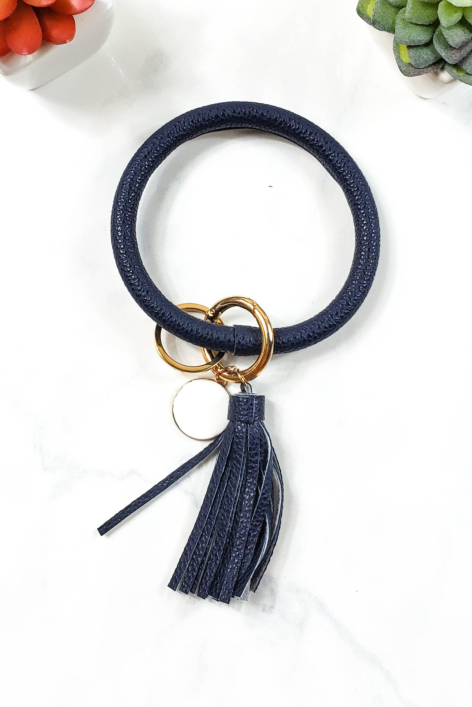 Solid Navy Keychain Bangle